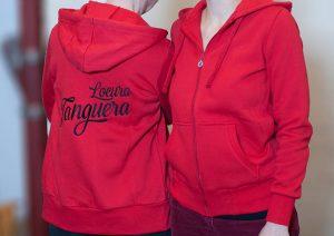 """Damen-Kapuzen-Sweat-Jacke """"Locura Tanguera"""" (Rot)"""